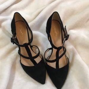 Charles David black suede heels